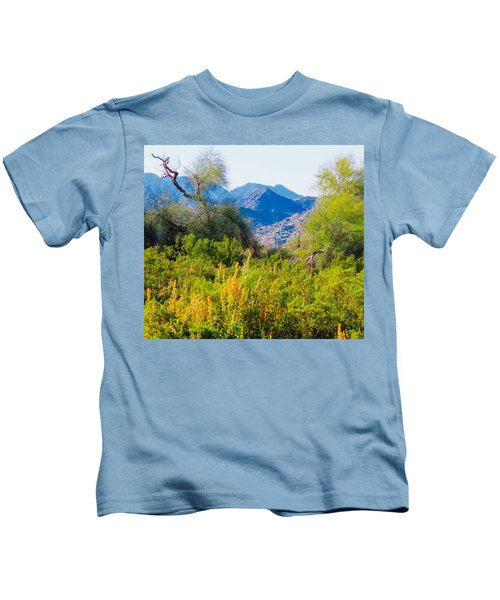 Kids T-Shirt featuring the photograph Deep Desert Valley In A Sonoran Desert Spring by Judy Kennedy