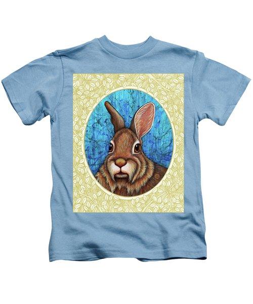 Eastern Cottontail Portrait - Cream Border Kids T-Shirt