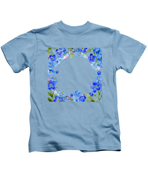Frame Wreath Of Blue Forget Me Not Flowers On Cream Marble Kids T-Shirt