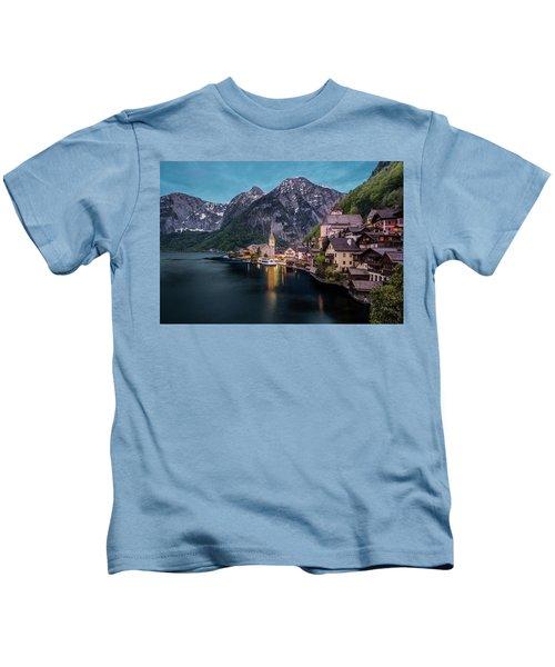Hallstatt Village At Dusk, Austria Kids T-Shirt