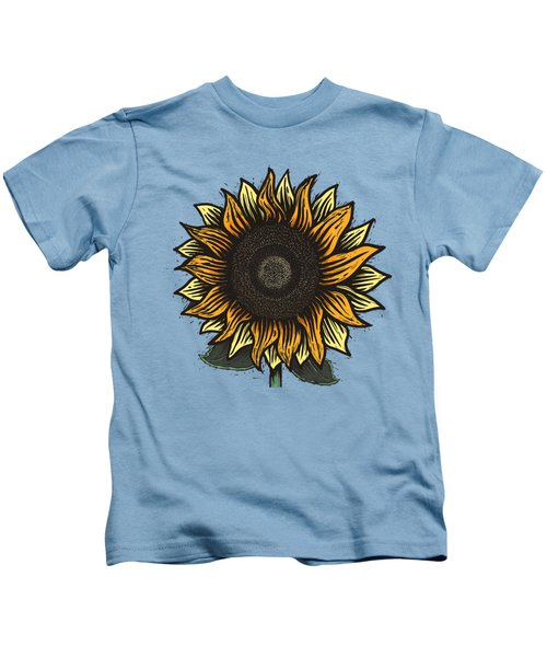 Here Comes The Sunflower Woodcut Kids T-Shirt