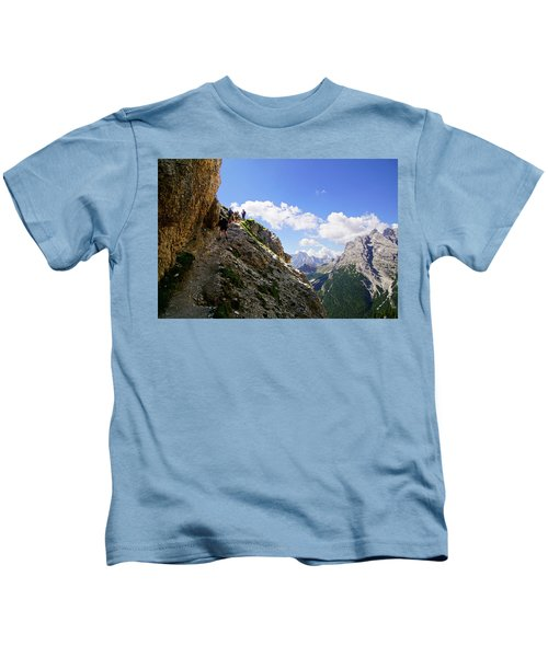 Hikers On Steep Trail Up Monte Piana Kids T-Shirt