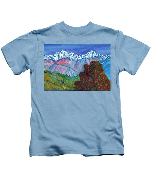 Blooming Tree On A Background Of Snowy Mountains Kids T-Shirt