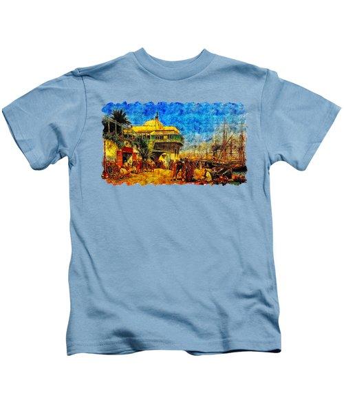 Impressionist Watercolor Drawing - Beach Market Kids T-Shirt