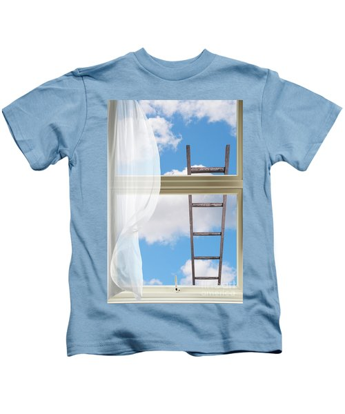 Ladder Against Window Pane Kids T-Shirt