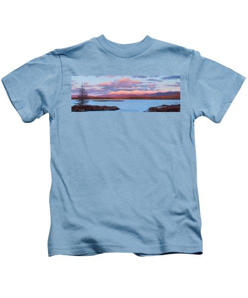 Mountain Views Over Cherry Pond Kids T-Shirt