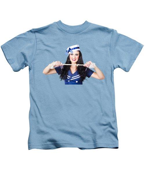 Navy Pin Up Poster Girl Breaking Rope Kids T-Shirt