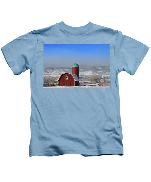 Red Barn, Silo And The Orange Tractor Kids T-Shirt