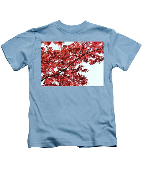 Red Japanese Maple Leaves Kids T-Shirt