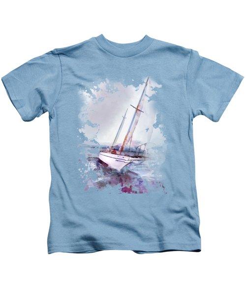 Setting Sail At Daybreak Watercolor Splash Kids T-Shirt