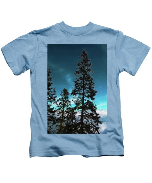 Silhouette Of Tall Conifers In Autumn Kids T-Shirt