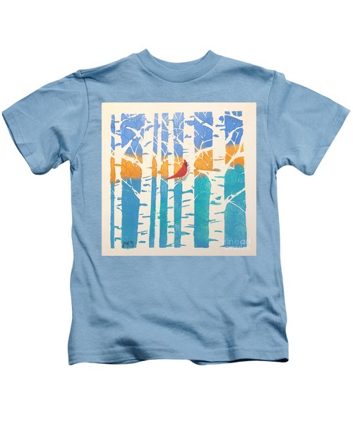 Spring Cardinal In Middle Birch Tree Kids T-Shirt