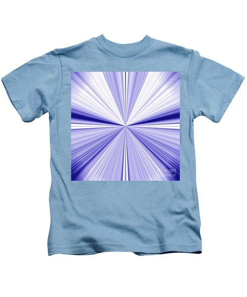 Starburst Light Beams In Blue And White Abstract Design - Plb455 Kids T-Shirt