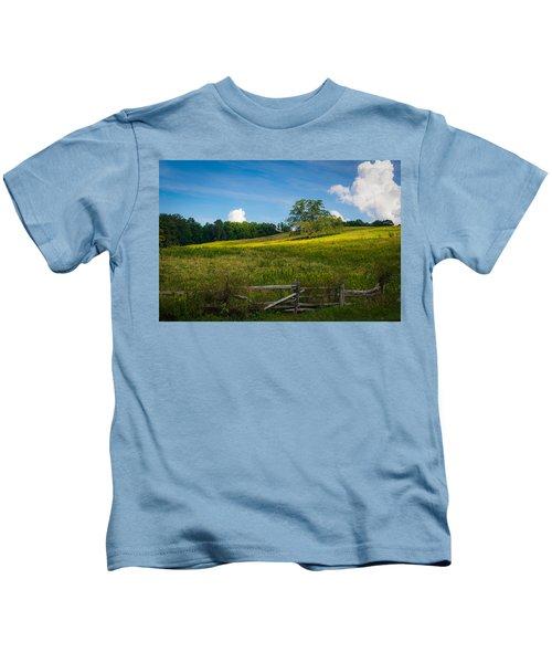 Blue Ridge Parkway - Summer Fields Of Yellow - Lone Tree Kids T-Shirt