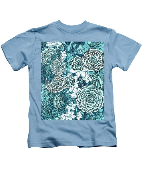 Teal Blue Watercolor Botanical Flowers Garden Pattern Flowerbed Iv Kids T-Shirt