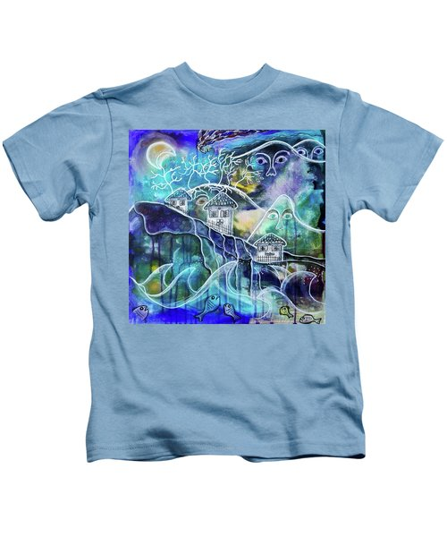 Three Houses On A Cliff Kids T-Shirt