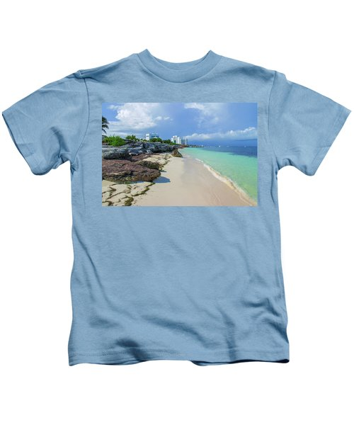 White Sandy Beach Of Cancun Kids T-Shirt