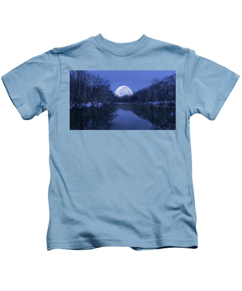 Winter Night On The Pond Kids T-Shirt