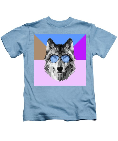 Woolf In Blue Glasses Kids T-Shirt