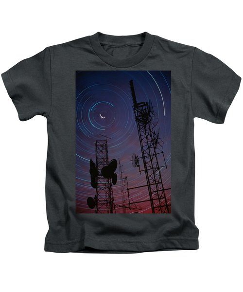 Radio Towers And Star Trails Kids T-Shirt