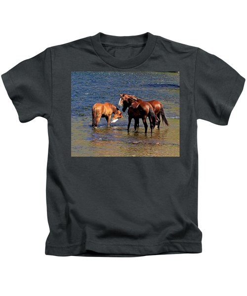 Arizona Wild Horses On The Salt River Kids T-Shirt