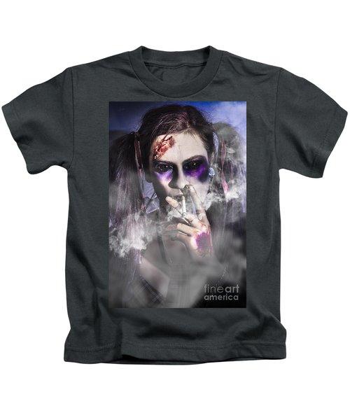 Evil Zombie Schoolgirl Smoking Cigarette Kids T-Shirt