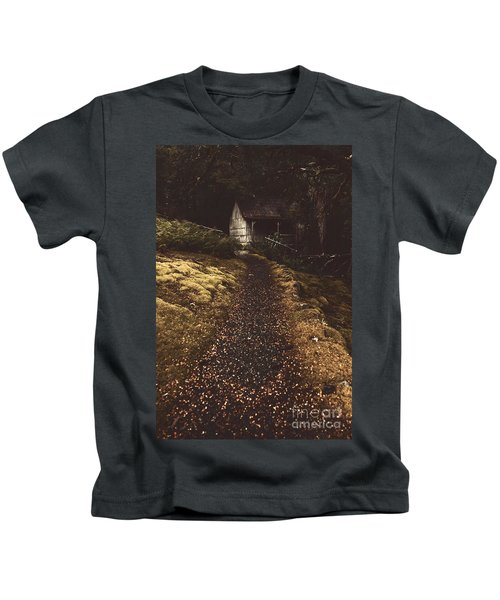 Forest Log Cabin Or Cottage With Leafy Autumn Path Kids T-Shirt