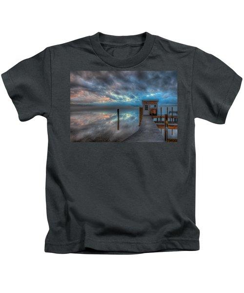 Melvin Village Marina In The Fog Kids T-Shirt