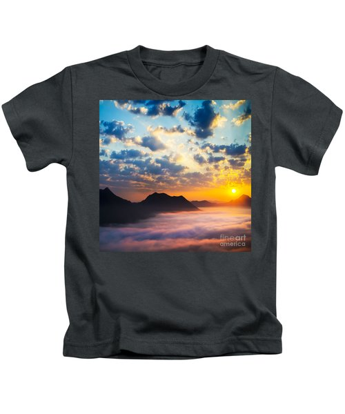 Sea Of Clouds On Sunrise With Ray Lighting Kids T-Shirt