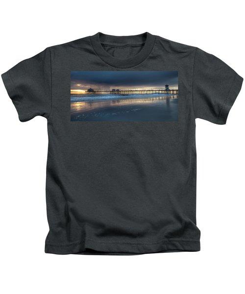 Approaching Storm Huntington Beach Pier Kids T-Shirt