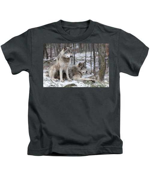 Timber Wolf Pair In Forest Kids T-Shirt