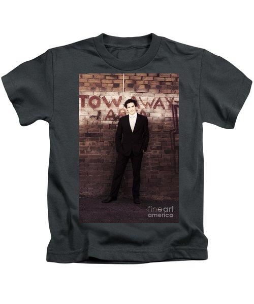 Vintage Salesman Standing In Front Of Brick Wall Kids T-Shirt