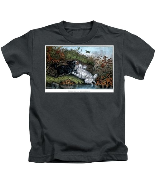 1860s Two Spaniel Dogs Flushing Kids T-Shirt