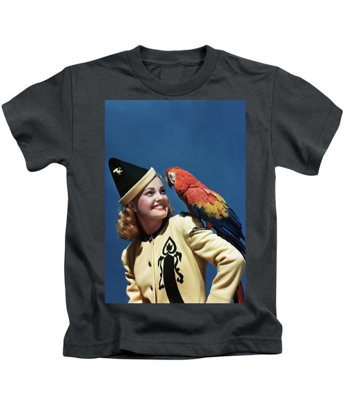 1940s Smiling Blond Woman Wearing Kids T-Shirt