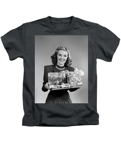 1950 1950s Woman Holding Pile Kids T-Shirt