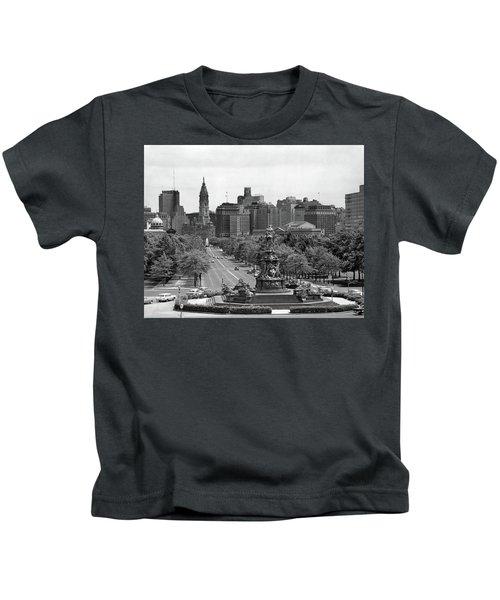 1950s Benjamin Franklin Parkway Looking Kids T-Shirt