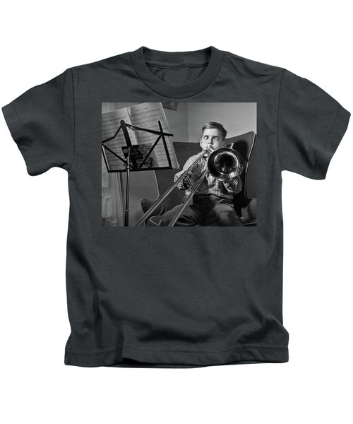 1950s Funny Cross-eyed Boy Playing Kids T-Shirt