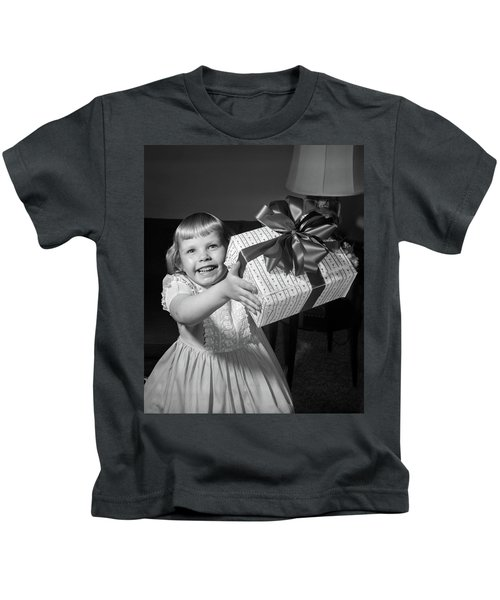 1950s Smiling Girl Holding Up Wrapped Kids T-Shirt