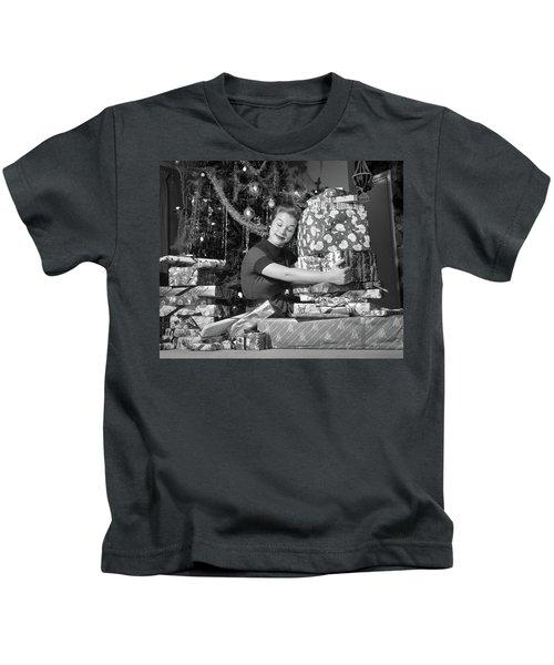 1950s Woman Sitting By Christmas Tree Kids T-Shirt