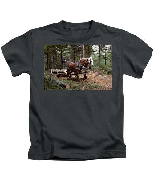 1980s Young Man Logging With Team Kids T-Shirt