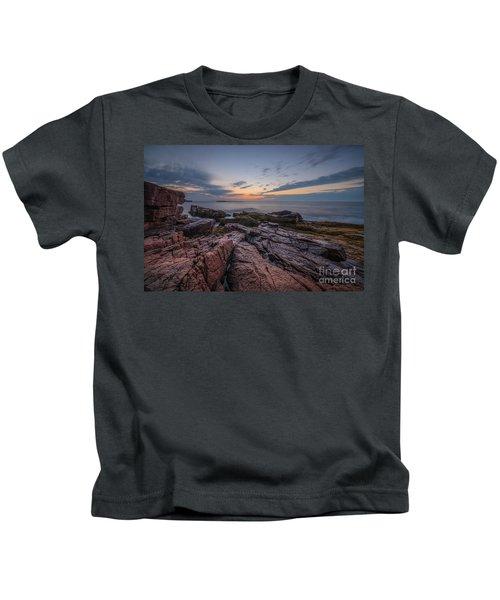 Acadia Rocky Sunrise Kids T-Shirt