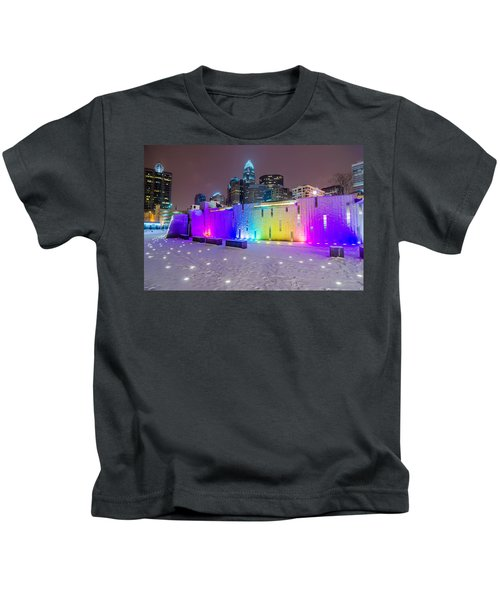 Charlotte Queen City Skyline Near Romare Bearden Park In Winter Snow Kids T-Shirt
