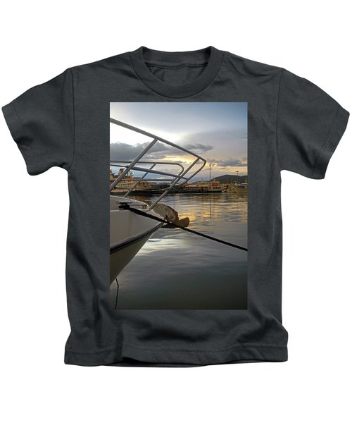Cloudy Sunset At Sport Port Marina Kids T-Shirt