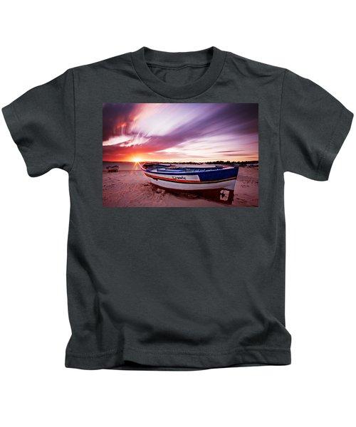 Fishing Boat At Sunset / Tunisia Kids T-Shirt