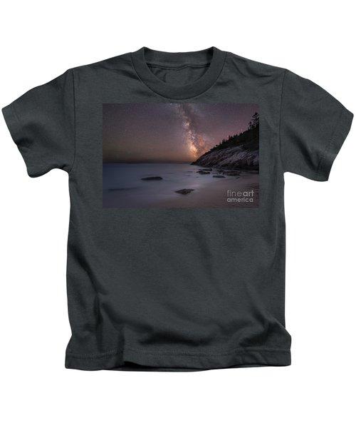 Sand Beach Acadia Milky Way Kids T-Shirt