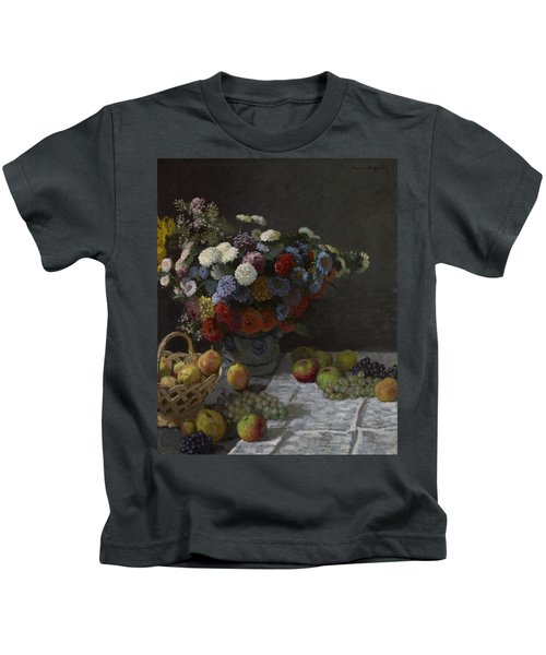 Still Life With Flowers And Fruit Kids T-Shirt