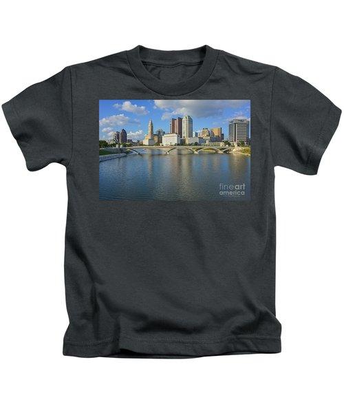 Fx1l-802 Columbus Ohio Skyline Photo Kids T-Shirt
