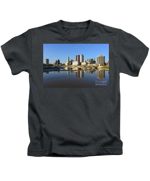 Fx1l-1058 Columbus Ohio Skyline Photo Kids T-Shirt