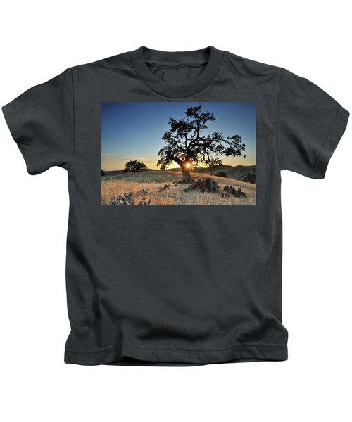 A Bright Orange Sun Peaking Kids T-Shirt