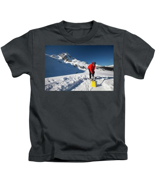 A Climber Shovels Snow In Order To Make Kids T-Shirt